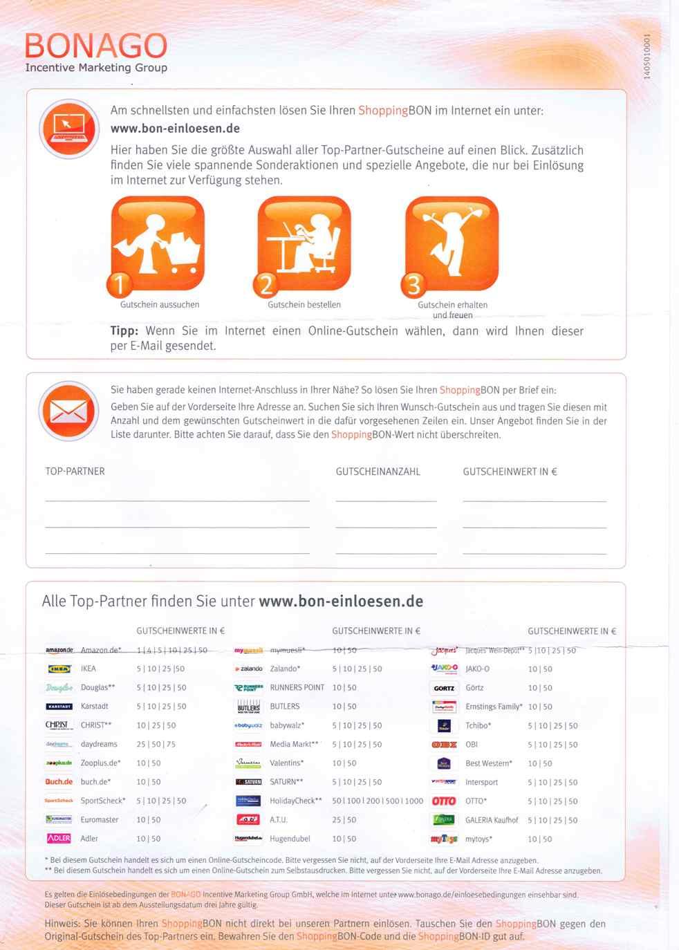 ShoppingBON Universalgutschein als Abo-Prämie - alle Infos und Anleitung